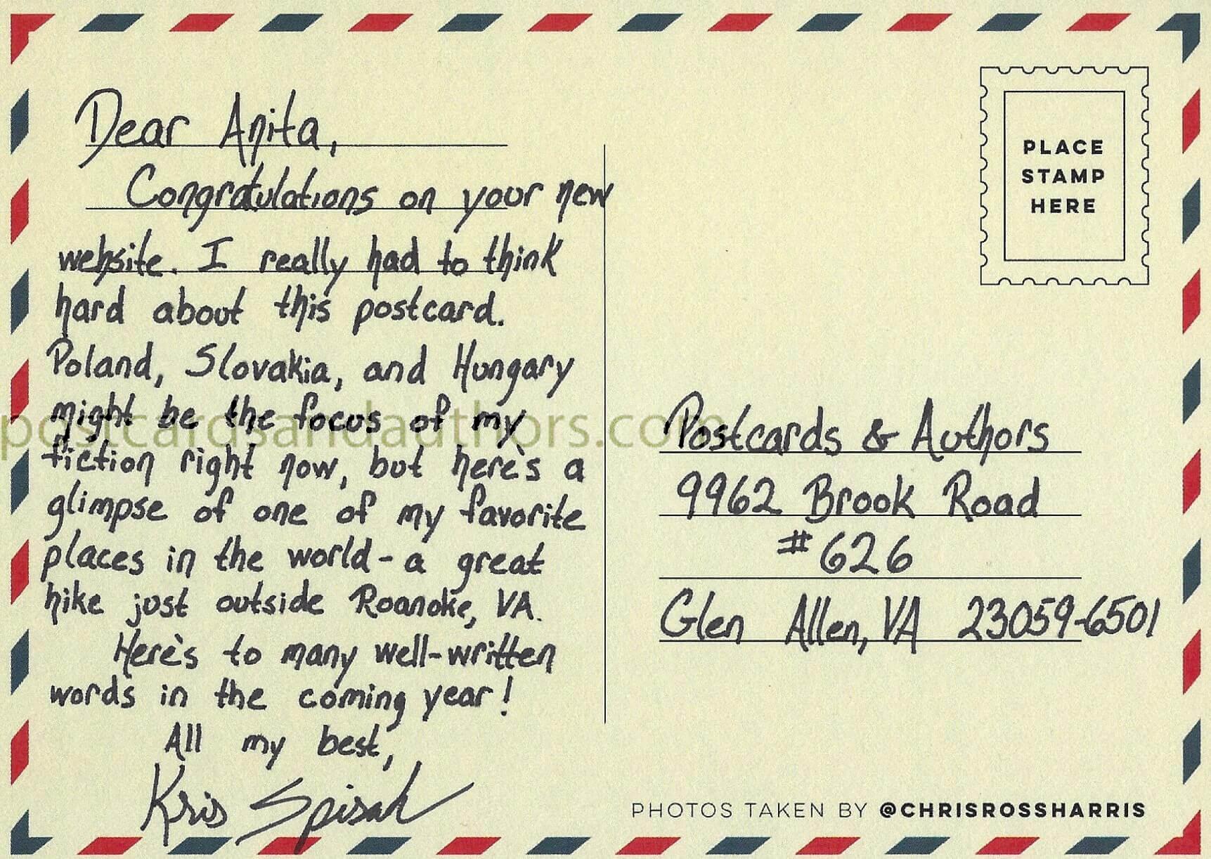 Kris Spisak postcard