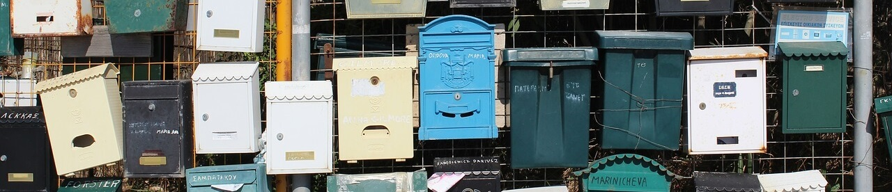 Postcards and Authors - Mailboxes waiting